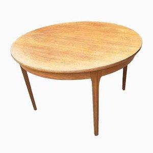 Mesa de comedor extensible redonda de teca de Sutcliffe Todmorden, años 60