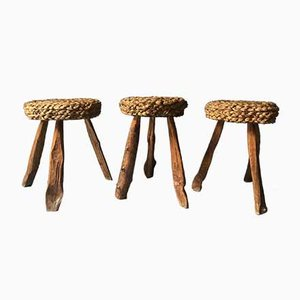Rope and Wood Stools by Adrien Audoux & Frida Minet, 1950s, Set of 3
