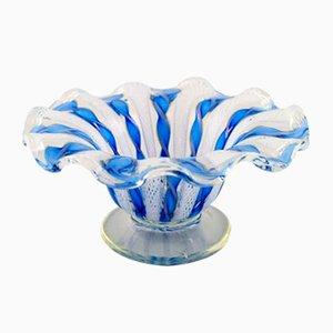 Blaue Vintage Zanfirico Schale aus mundgeblasenem Muranoglas