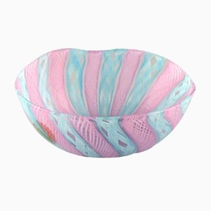 Vintage Pink & Blue Mouth-Blown Murano Glass Zanfrico Bowl