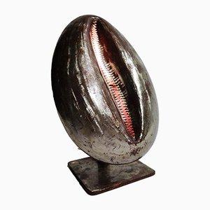 Lámpara de mesa francesa de concha de latón, años 70