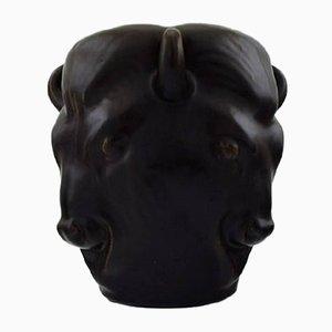Jarrón Bull antiguo de cerámica de Karl Hansen Reistrup para Kähler
