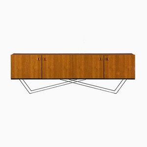 Credenza minimalista in acciaio e teak, anni '60