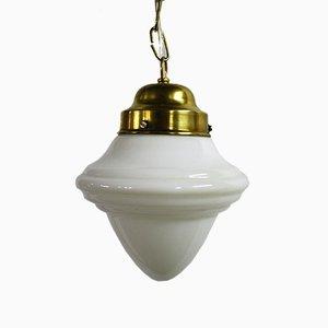 Lámpara colgante francesa de opalina, años 30