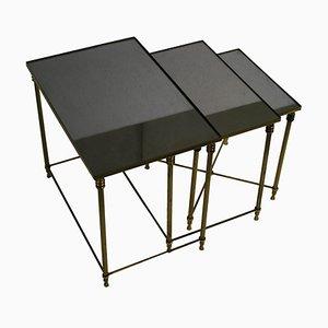Tavolini ad incastro in ottone, anni '60
