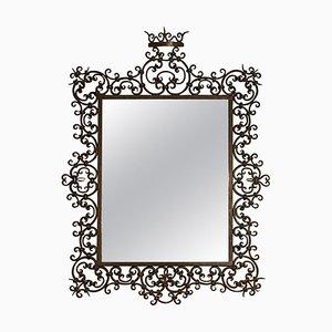 Spanischer Spiegel mit Rahmen aus Schmiedeeisen, 1940er
