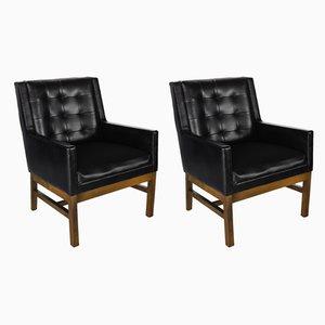 Club chair in vinile nero di Drexel, anni '60, set di 2