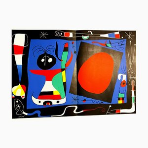 Woman With Mirror Lithograph by Joan Miro, 1964