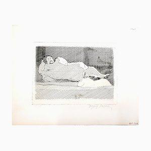Gravure à l'Eau-Forte Sleeping Nude par Jacques Villon, 1950s