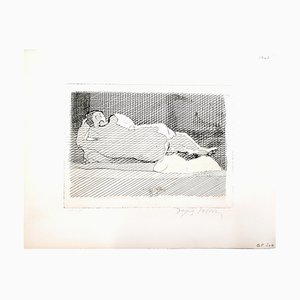 Sleeping Nude Etching by Jacques Villon, 1950s
