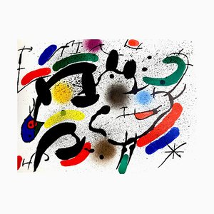 Abstract Lithograph by Joan Miró, 1981
