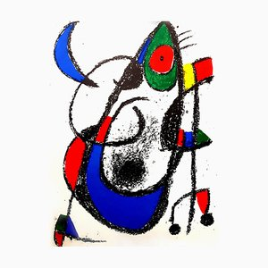 Abstract Lithograph by Joan Miró, 1975