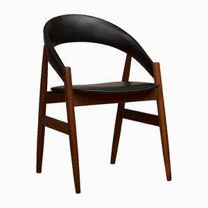 Mid-Century Teak and Leatherette Side Chair, 1960s