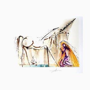 Unicorn Lithografie von Salvador Dali, 1972