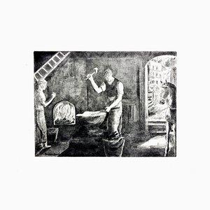 Workers Radierung von Hermine David, 1946