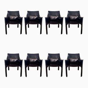 Chaises de Salle à Manger CAB-413 en Cuir par Mario Bellini pour Cassina, 1980s, Set de 8