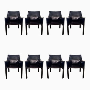 Leather CAB-413 Dining Chairs by Mario Bellini for Cassina, 1980s, Set of 8