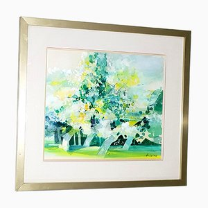 Green Trees Watercolor by Camille Hilaire, 1970s