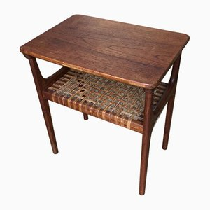 Mid-Century Teak & Seagrass Side Table from France & Søn / France & Daverkosen