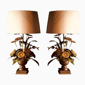 Lámparas de mesa francesas con flores, años 70. Juego de 2