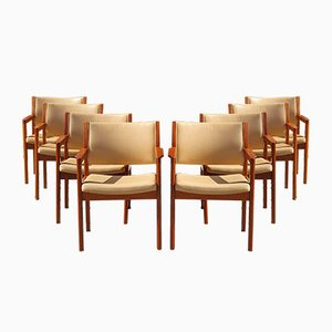 Danish Leather Armchairs by Kurt Østervig for FDB, 1970s, Set of 8