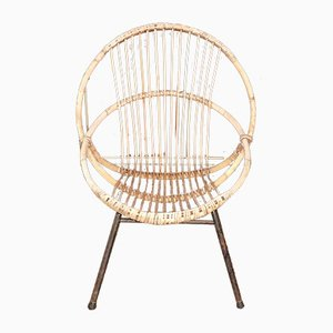 Wicker & Tubular Steel Lounge Chair from Rohé Noordwolde, 1960s