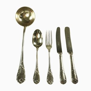Antique Silver Plated Cutlery Set by Georg Leykauf for Christofle Marly