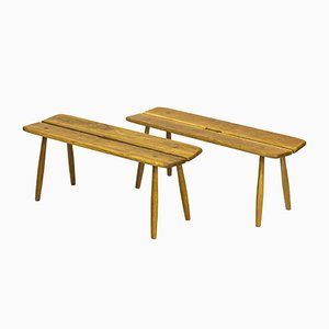 Swedish Benches by Carl Gustaf Boulogner for AB Bröderna Wigells Stolfabrik, 1950s, Set of 2