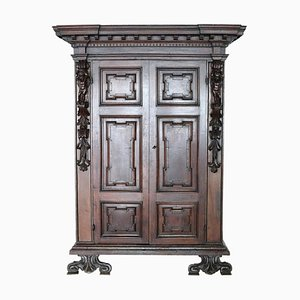 Antique Italian Solid Walnut Wardrobe, 1580s