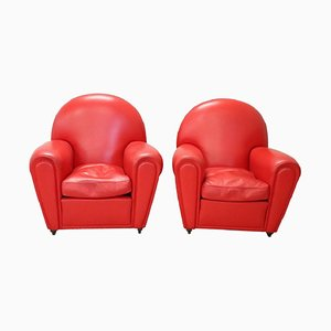 Red Leather Lounge Chairs from Poltrona Frau, 1930s, Set of 2