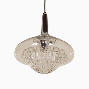 Lámpara colgante vintage de vidrio soplado de Peill & Putzler, años 70