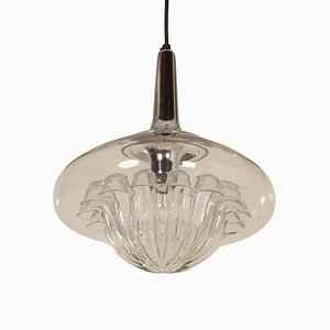 Vintage Mouth-Blown Glass Pendant Lamp from Peill & Putzler, 1970s