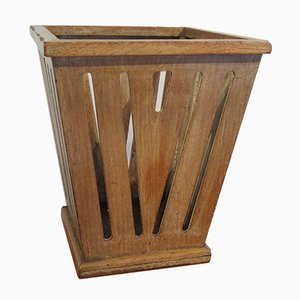 Papelera vintage de madera