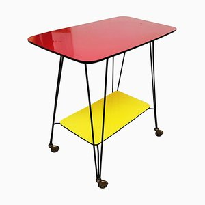 French Side Table on Wheels, 1950s
