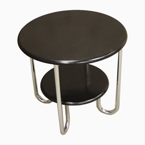 Vintage German Chromed Steel & Lacquered Wood Side Table from Mauser Werke Waldeck, 1930s