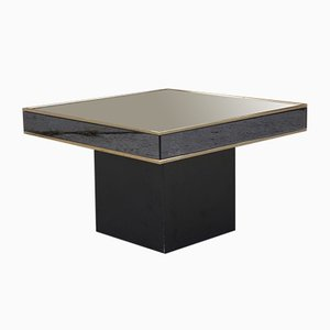 Hollywood Regency Smoked Glass & Polished Brass Side Table by Willy Rizzo, 1970s