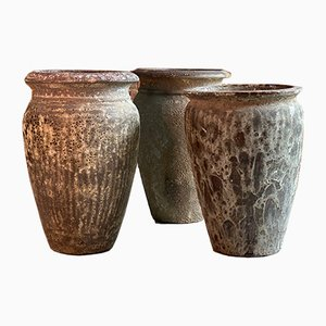 Urna da giardino vintage in terracotta, set di 3