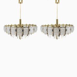 Lampadari grandi in vetro, anni '70, set di 2