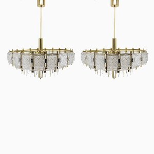 Large Glass Chandeliers, 1970s, Set of 2