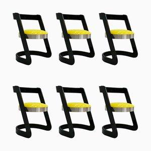 Sillas de comedor italianas vintage de madera lacada en negro y terciopelo amarillo de Willy Rizzo. Juego de 6