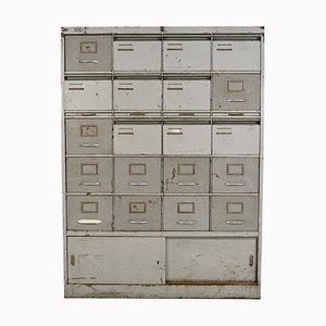 Schedario vintage industriale in acciaio