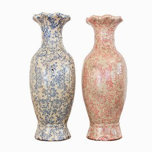 Italian Decoupage Vases, 1960s, Set of 2