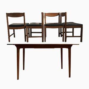Tavolo da pranzo vintage allungabili in teak con quattro sedie di Tom Robertson per McIntosh, anni '60