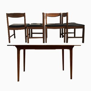 Vintage Teak Extendable Dining Table & 4 Chairs Set by Tom Robertson for McIntosh, 1960s