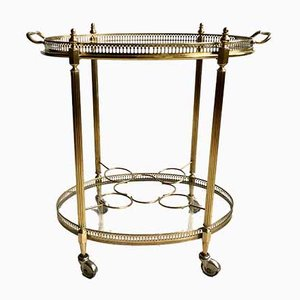 French Oval Brass Drinks Trolley, 1950s