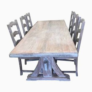 French Limed Oak Effect Dining Table & Chairs Set, 1930s