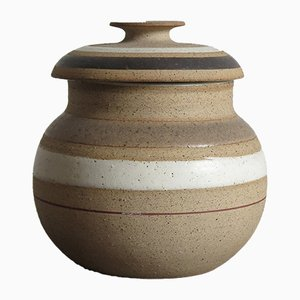Vintage Stoneware Lidded Container by Bruno Gambone, 1960s