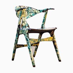 Vintage Cowhorn Decoupage Armchair by Louis van Teeffelen, 1960s