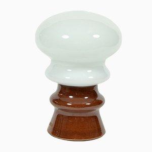 Lampada da tavolo a fungo vintage in vetro opalino, anni '70