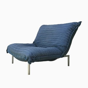 Vintage Blue Calin Pillow Lounge Chair by Pascal Mourgue for Cinna